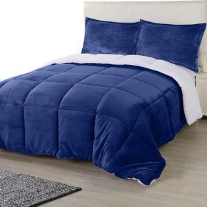 New Navy 3 Piece King Reversible Super Soft Heavy Sherpa-Flannel Comforter Set